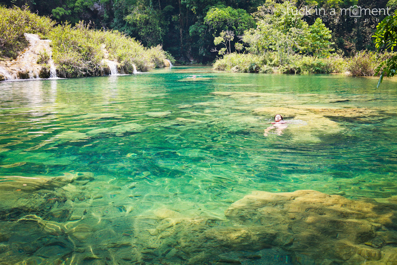 Dee wades through the freshwater pools at Semuc Champey