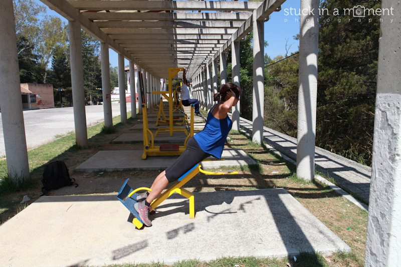 When you travel, you work out at outdoor gyms. Or anywhere with pieces of metal put together.