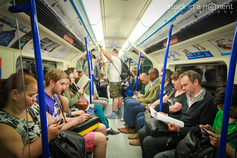 The crypt in London - anti social, all about 'me time' in a public place. Smiling is forbidden - The Tube