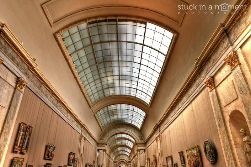 Inside the grand gallery at the Louvre