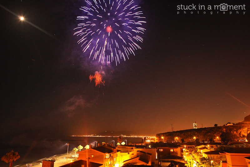 Fireworks to celebrate the Virgin Mary festival at Malaga
